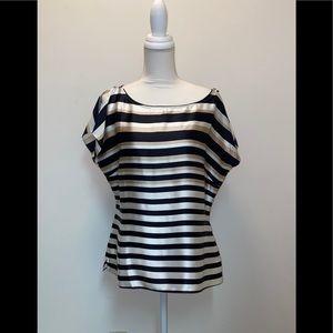 White House Black Market Silk flutter sleeve top